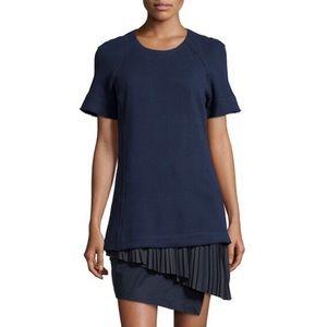 Pleated 2 in 1 short sleeve dress, midnight navy